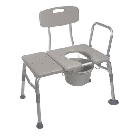 plastic transfer bench combination plastic transfer bench with commode opening by drive medical 12011kdc 1