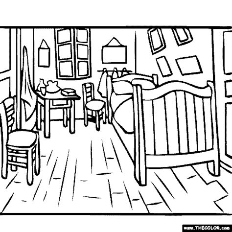 van gogh the bedroom coloring page online coloring pages starting with the letter v page 2