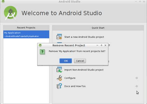 android er remove project from recent projects list of android studio welcome page - Android Studio Delete Project