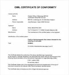 certificate of conformance template word sle conformity certificate template 8 free documents