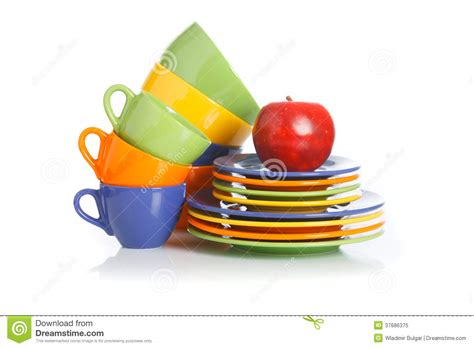 Kitchen Cups And Plates by Kitchen Utensils Plates And Cups On A White Stock Image