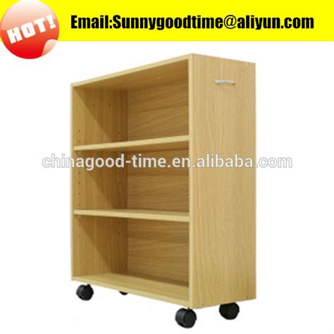 cheap wooden movable bookshelf with wheels buy bookshelf
