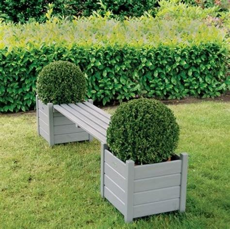 outdoor planter bench garden bench with planters grey by garden selections
