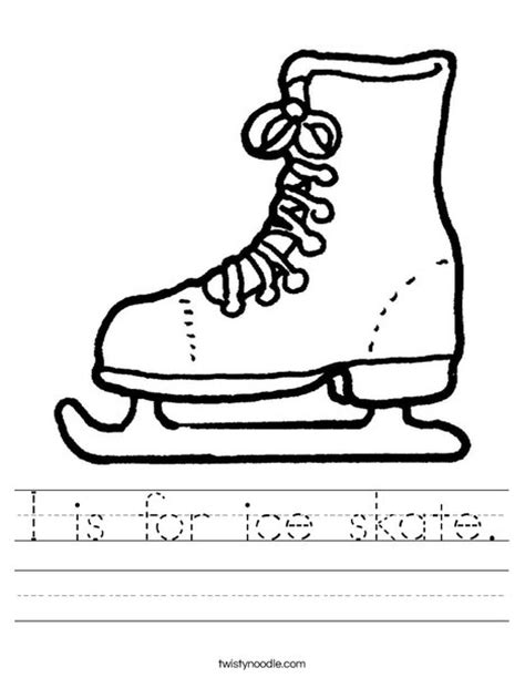 hockey skates coloring pages i is for ice skate worksheet twisty noodle