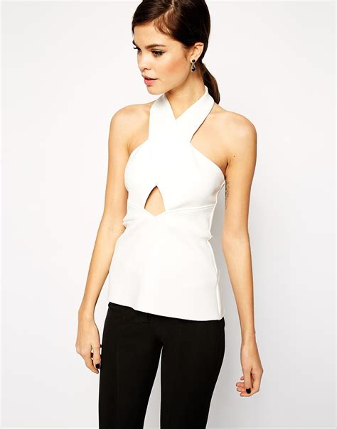 Cut Out Top Teskin 1 asos top with halter neck cut out in smart fabric in white