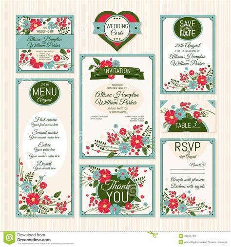 Hochzeitseinladungen Set by Set Hochzeitskarten Vektor Abbildung Bild 43074719