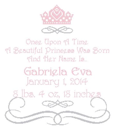 Birth Time Records Once Upon A Time Princess Cross Stitch Pattern Birth Record Sherryshouse