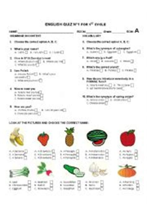 printable vegetable quiz english worksheets quiz based on common questions