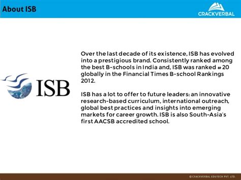 Isb Admission Process For Mba by Isb Admissions Kit