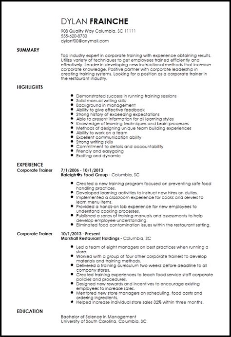 corporate resume templates free professional corporate trainer resume template