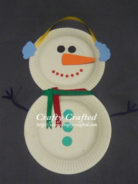 Paper Plate Snowman Craft - crafty crafted crafts for children 187 ideas