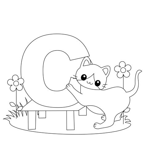 easy alphabet coloring pages animal alphabet letter c is for cat here s a simple