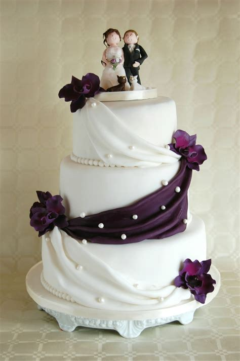 Simple Wedding Cake Lilac Orchids Cakecentral