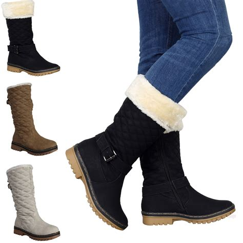 new quilted winter womens grip sole mid calf snow