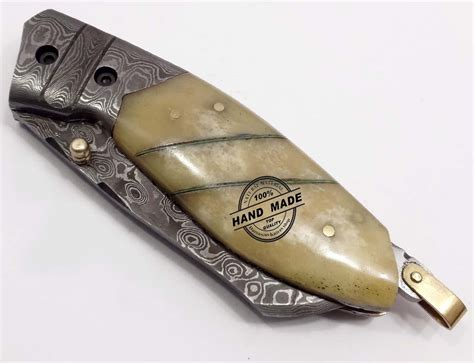 Handmade Folding Knife - damascus folding liner lock knife custom handmade damascus