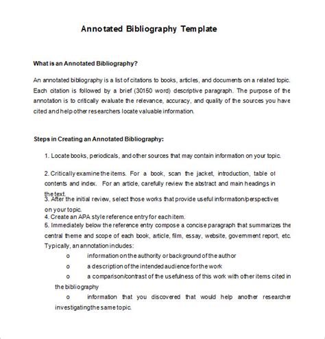 7 annotated bibliography templates free word pdf