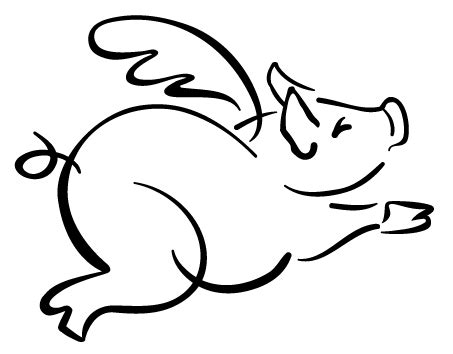 free flying pig clipart | Flying Pig Outline | Pigs ... Flying Pig Drawing