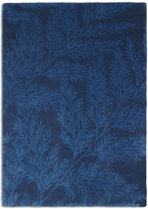 Rugs Blue Wool Rugs Plantation Leaf Lea02 Blue Rug 163 164
