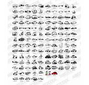 Black And White Classic Cartoon Motor Vehicles Vector Design Material