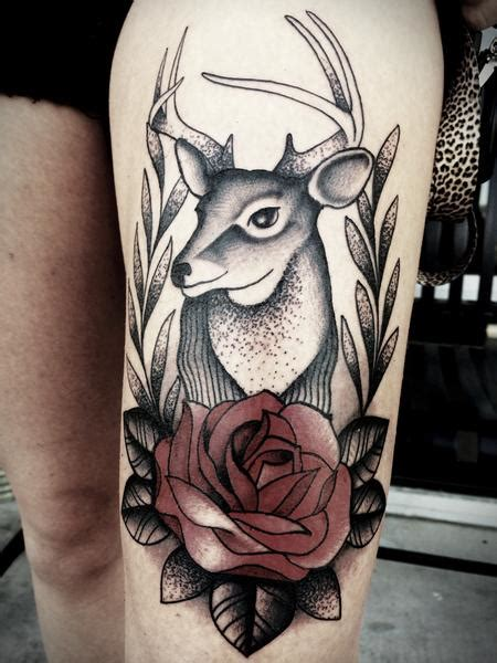 traditional deer tattoo junkies studio tattoos frichard