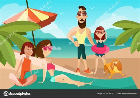 imagenes animadas vacaciones playa familia en una ilustraci 243 n de vector de dibujos animados