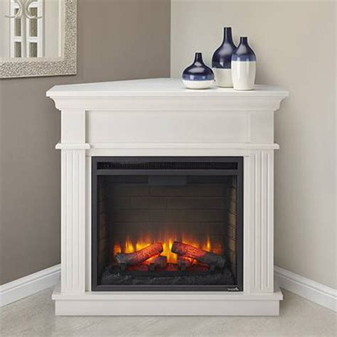 White Electric Corner Fireplace by Crestwood Electric Fireplace Mantel Package In White