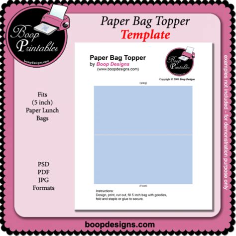 paper bag topper template by boop printable designs paper