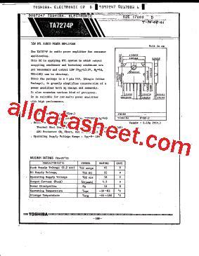 An7163 Btl 17w Audio Power Lifier ta7274p データシート pdf toshiba semiconductor