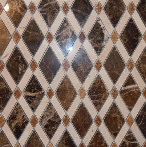Lattice Rhomboid Diamond Marble Mosaic Tile by Classic