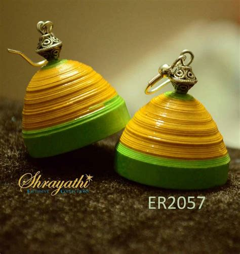 Jhumkas With Paper - buy yellow paper jhumka