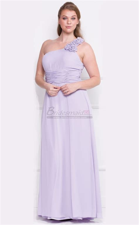 Dress Satin 002 lilac one shoulder chiffon plus size bridesmaid dress