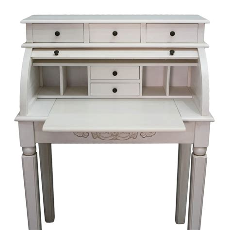 International Caravan Carved Wood Roll Top White Secretary White Desk With Wood Top