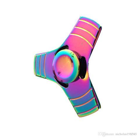fidget spinner rainbow 3 sisi bahan metalic 2017 luxury rainbow 3 leaves metal fidget finger spinner
