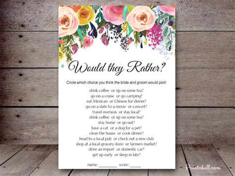 Sn34b 5 X7 Floral Chic Printabell Create Would They Rather Bridal Shower Template
