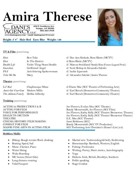 resume for acting amira therese acting resume