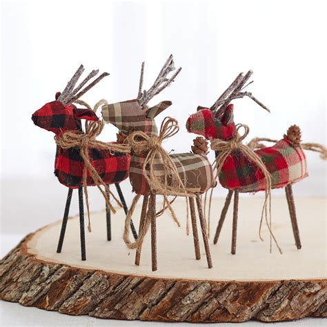 plaid reindeer ornament set christmas ornaments