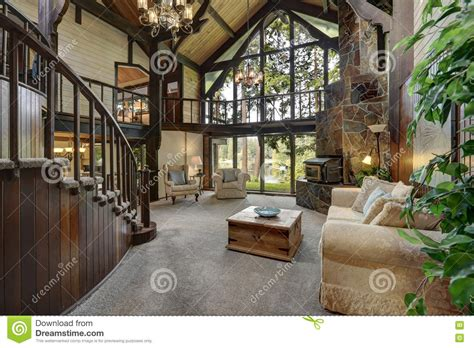 cottage house interior modern wooden cottage house interior with living room close up stock image image of