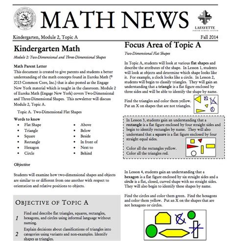 Parent Letter Eureka Math Kindergarten Module 2 Topic A Parent Newsletter Developed By Eureka Math Users Lafayette