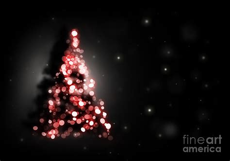 christmas tree shining on black background digital art by