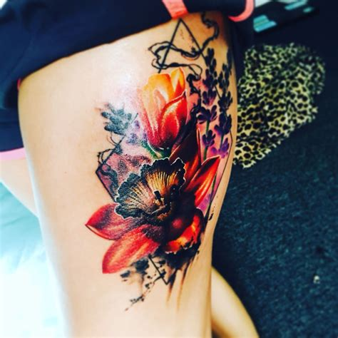 watercolor tattoo girl wildflower thigh watercolor