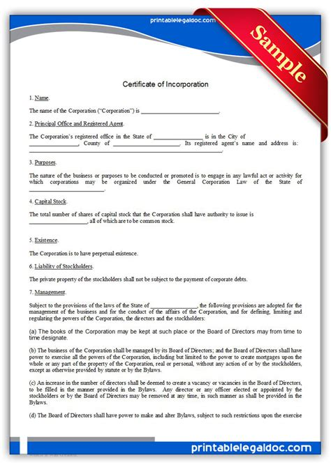 certificate of incorporation template free printable encroachment agreement form generic