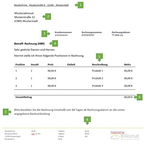 Musterrechnung Freiberufler Arzt kleinbetragsrechnung f 252 r freiberufler vorlage muster