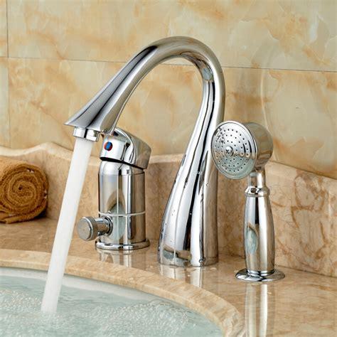pull out bathtub faucet deck mount 3 holes bathtub shower faucet set single handle