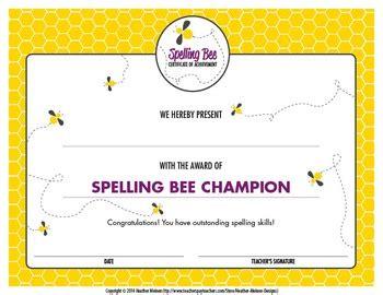 25 best ideas about spelling spelling bee certificate by meinen designs tpt