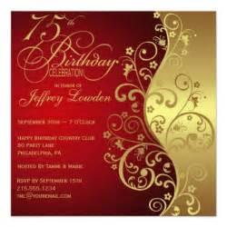 gold 75th birthday invitation