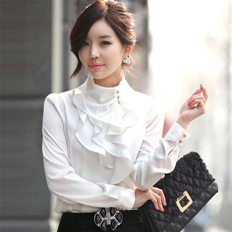 High Neck Blouse S Shirts by New Ruffle Collar Shirt Puff Sleeve Silky