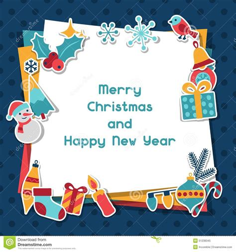 merry christmas and happy new year invitation card stock