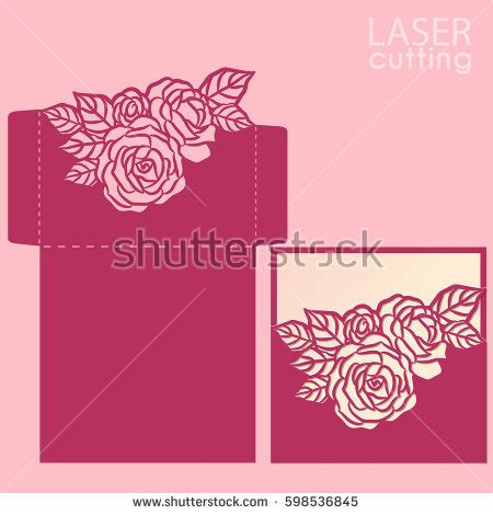 flower envelope card template vector die laser cut envelope template stock vector