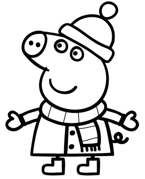 Peppa Pig Winter Coloring Pages | peppa pig winter coloring page to print or download for free