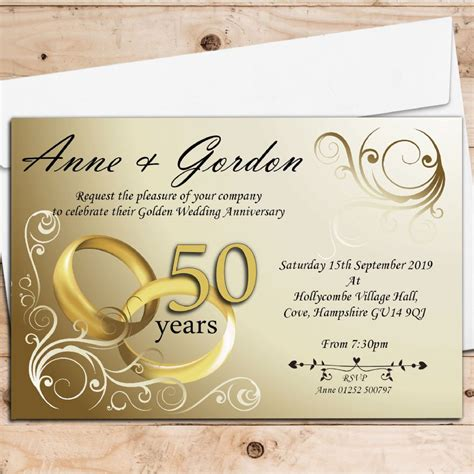50th anniversary invitations city 10 personalised gold rings 50th golden wedding anniversary